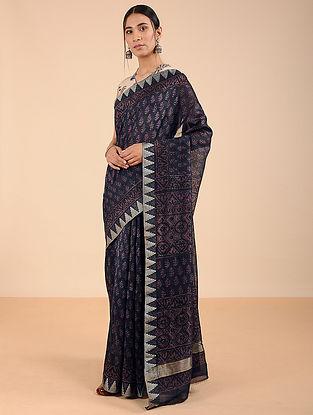Blue Dabu-printed Silk Cotton Saree