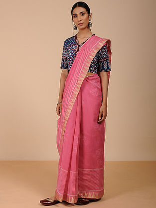 Pink Dabu-printed Silk Cotton Saree
