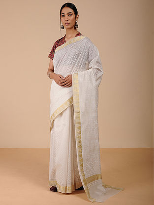 Ivory Khari-printed Silk Cotton Saree with Zari