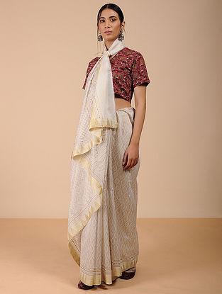 Ivory Khari-printed Silk Cotton Saree with Zari