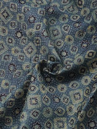 Indigo-Ivory Block-printed Silk Fabric