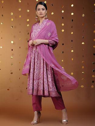 Pink-Gold Khari-printed Chiffon Dupatta