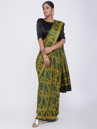 Green Block-printed Gajji Silk Saree