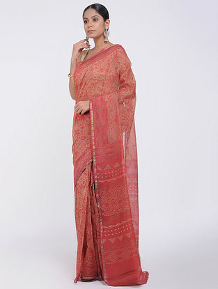 Red Block-printed Silk Cotton Saree