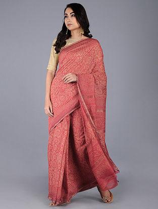 Pink-Ivory Block-printed Silk Cotton Saree with Zari Border