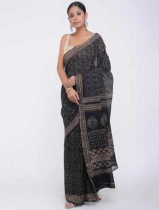 Black Block-printed Silk Cotton Saree