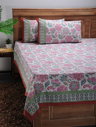 Pink-Green Printed Cotton Double Bed Cover with Pillow Covers (Set of 3)