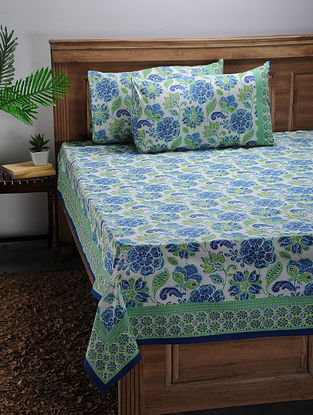 Green-Blue Printed Cotton Double Bed Cover with Pillow Covers (Set of 3)