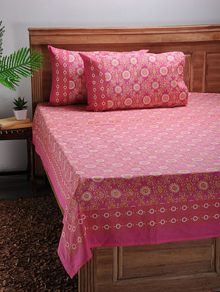 Pink-Orange Printed Cotton Double Bed Cover with Pillow Covers (Set of 3)