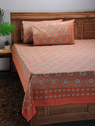 Orange-Green Printed Cotton Double Bed Cover with Pillow Covers (Set of 3)