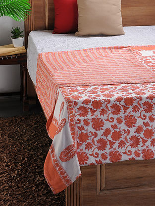 White-Orange Printed Cotton Double Dohar (102in x 88in)