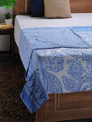 White-Blue Printed Cotton Double Dohar (102in x 88in)