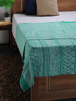 White-Green Printed Cotton Double Dohar (106in x 88in)