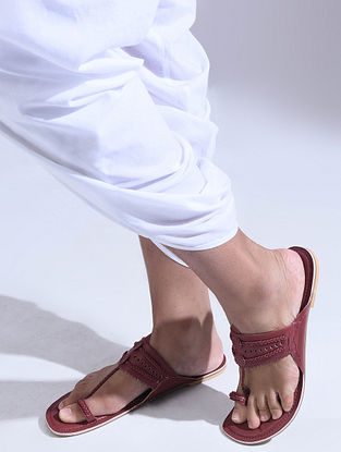 Maroon Handcrafted Leather Flats