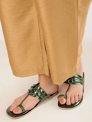 Metallic Green Handcrafted Flats