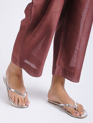 Silver Metallic Handcrafted Flats