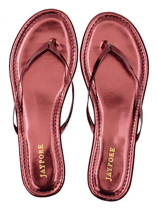 Red Metallic Handcrafted Flats