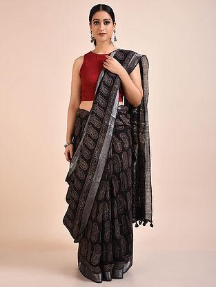 Black Handwoven Ajrakh Linen Saree