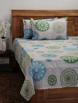 Blue Printed Cotton Double Bedcover (Set of 3)