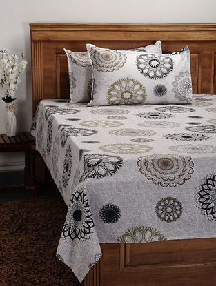 Grey Cotton Printed Double Bedcover (Set of 3)