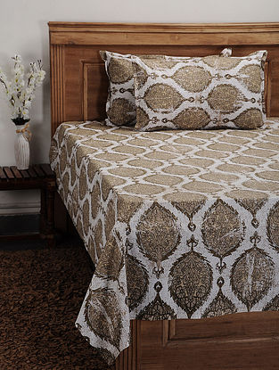 Beige Cotton Printed Double Bedcover (Set of 3)