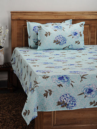 Blue Cotton Printed Double Bedcover (Set of 3)