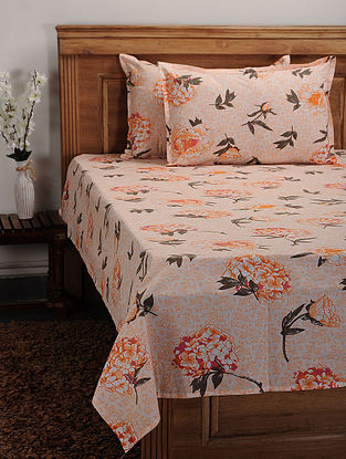 Orange Cotton Printed Double Bedcover (Set of 3)