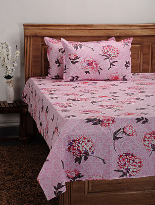 Pink Cotton Printed Double Bedcover (Set of 3)