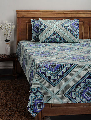 Aqua Cotton Printed Double Bedcover (Set of 3)