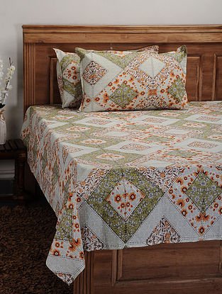 Green Cotton Printed Double Bedcover (Set of 3)