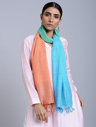 Blue-Orange Tie Dye Handloom Linen Stole