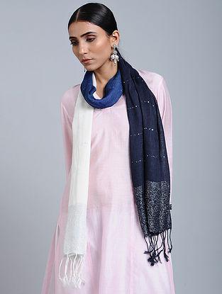 Blue-White Tie Dye Handloom Linen Stole