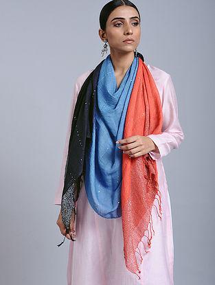 Blue- Orange Tie Dye Handloom Linen Stole