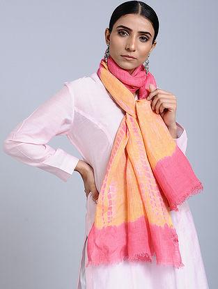Orange-Pink Tie Dye Handloom Linen Stole