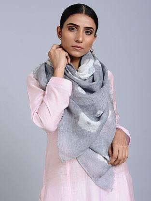 Grey-White Tie Dye Handloom Linen Stole