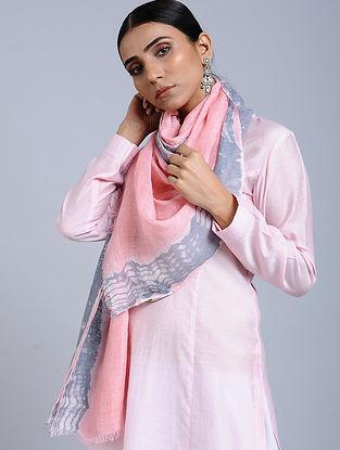 Pink-Blue Tie Dye Handloom Linen Stole