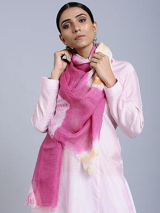 Pink-White Tie Dye Handloom Linen Stole