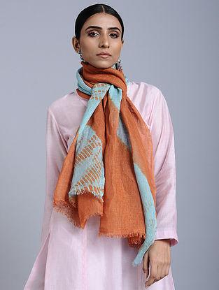 Brown-Blue Tie Dye Handloom Linen Stole