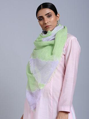 Green-White Tie Dye Handloom Linen Stole