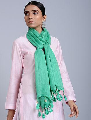 Green Tie Dye Handloom Linen Stole