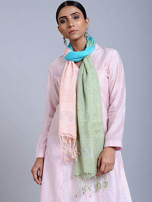 Multicolor Tie Dye Handloom Linen Stole