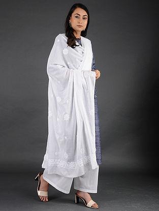 Ivory Chikankari Mul Cotton Dupatta