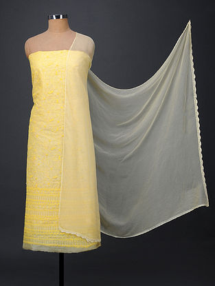 Yellow Chikankari Tussar Silk Suit Fabric