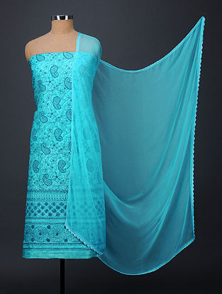 Blue Chikankari Tussar Silk Suit Fabric