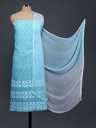 Blue Chikankari and Applique-work Cotton Blend Suit Fabric with Chiffon Dupatta