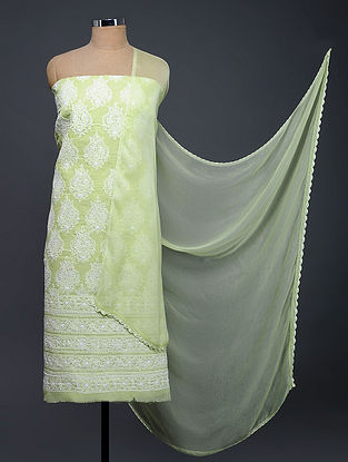 Green-Ivory Chikankari Cotton Blend Suit Fabric with Chiffon Dupatta