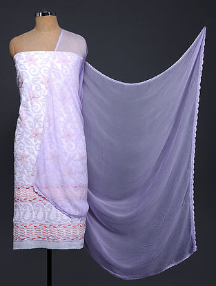 Ivory-Purple Chikankari Cotton Blend Suit Fabric with Chiffon Dupatta