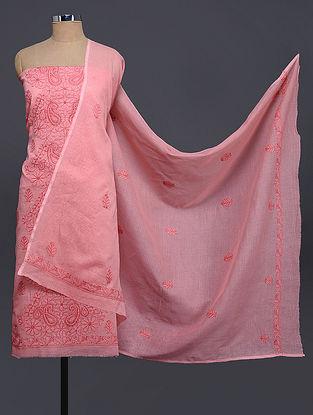 Pink Chikankari Kota Doria Kurta Fabric with Dupatta