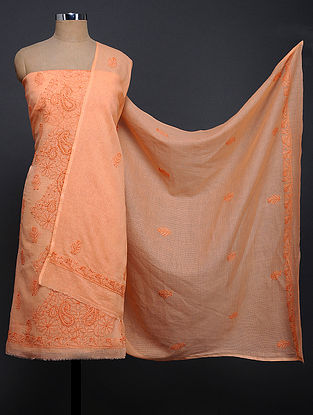 Orange Chikankari Kota Doria Kurta Fabric with Dupatta