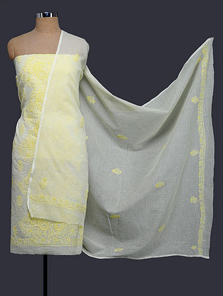 Ivory-Yellow Chikankari Kota Doria Kurta Fabric with Dupatta